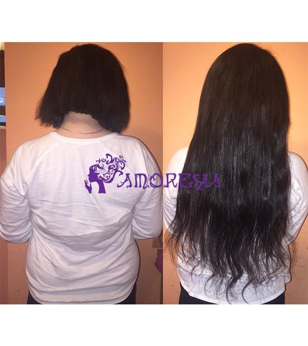 наращивание волос на короткую длину волос