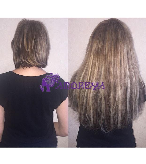 наращивание волос капсулами на короткие волосы