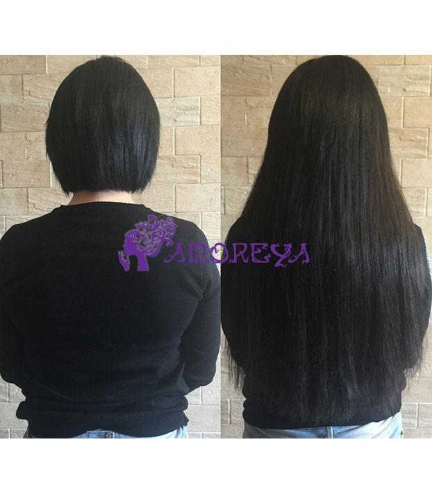 наращивание коротких волос для объема
