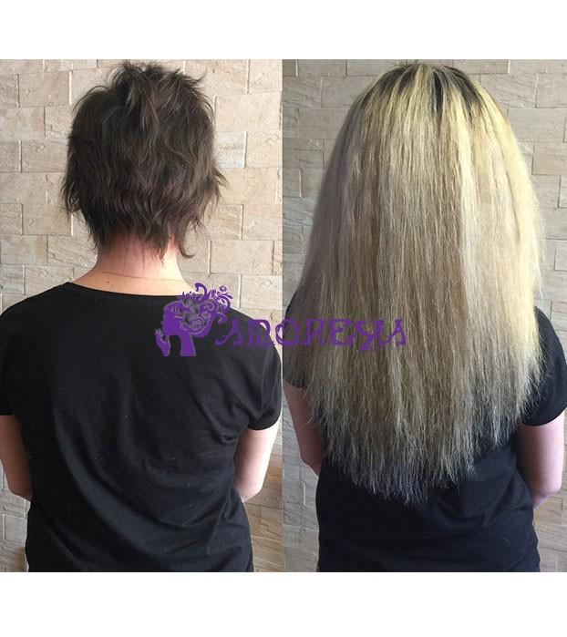 наращивание волос на очень короткие волосы