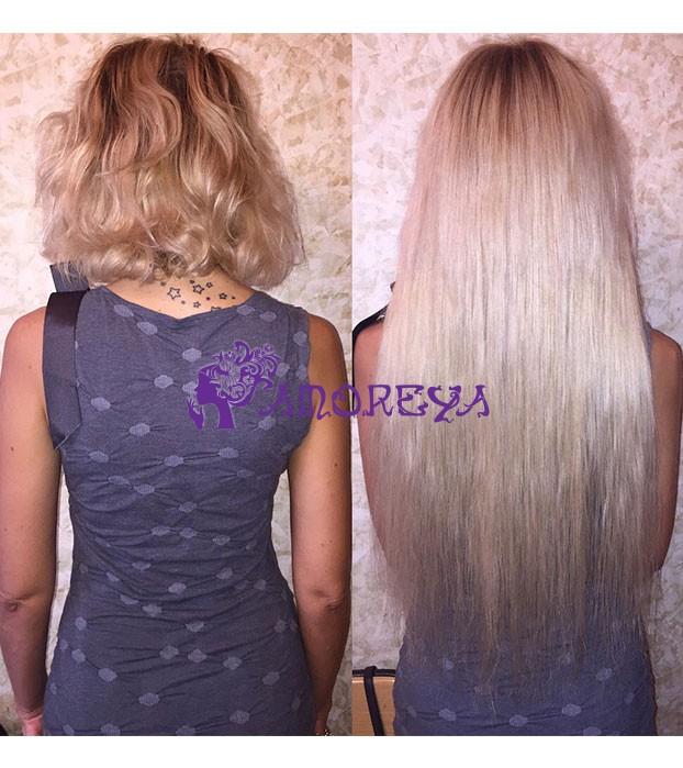 наращивание волос на короткую стрижку