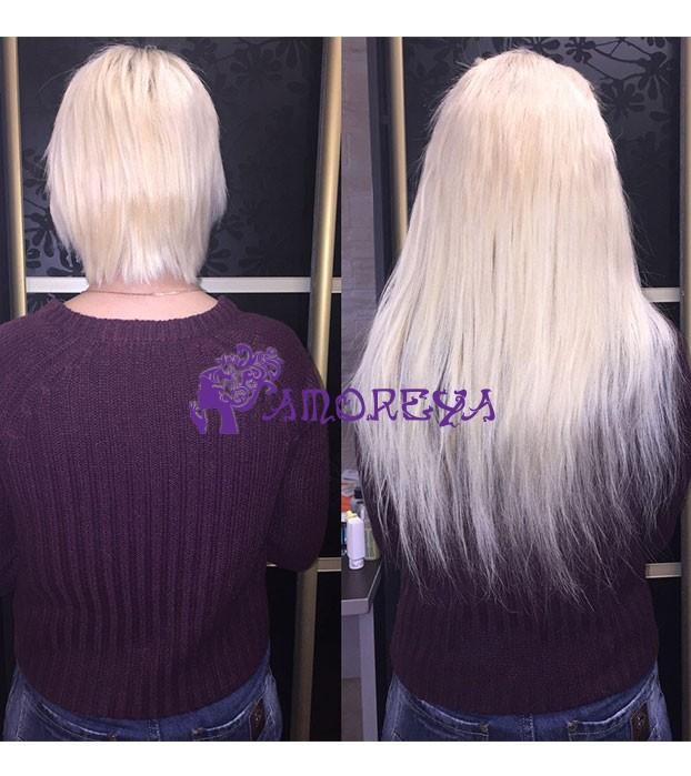 микрокапсульное наращивание на короткие волосы